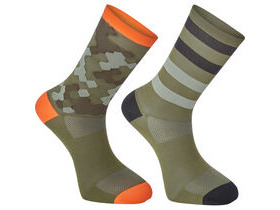 MADISON Sportive long sock twin pack, hex camo dark olive/chilli red