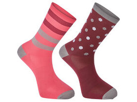 MADISON Sportive long sock twin pack, hex dots classy burgundy/berry