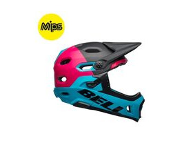 BELL CYCLE HELMETS Super Dh Mips MTB Helmet 2019: Unhinged Matte/Gloss Black/Berry/Blue