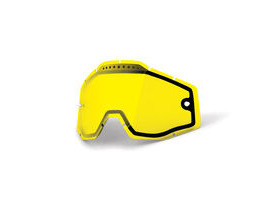 100% Accuri / Racecraft / Strata Vented Dual Pane Lens - Yellow