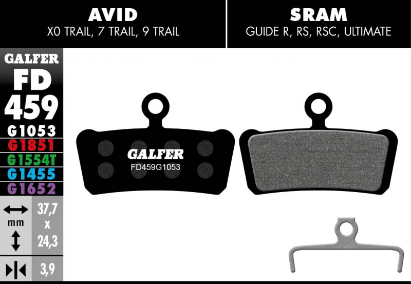 GALFER Extreme Wet Weather Guide R Disc Brake Pads (red