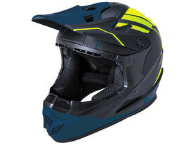 KALI PROTECTIVES Zoka Full Face Helmet in Matt Black Flo Yellow & Teal