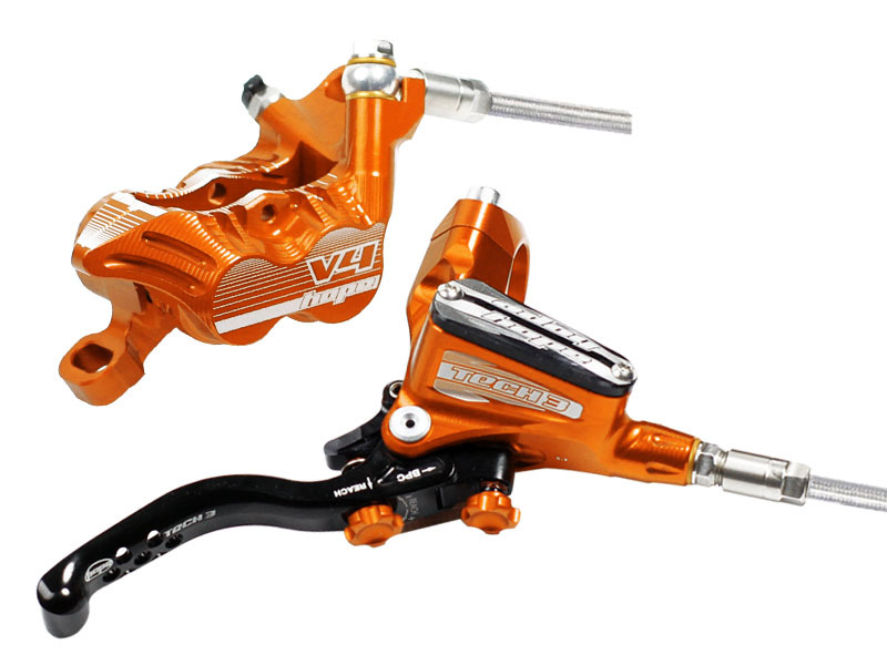 Hope Tech 3 V4 Silver Left Brand New Front with Braided Hose Brake