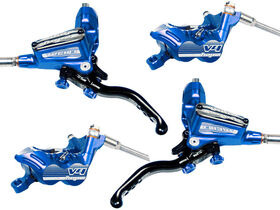 HOPE Tech3 V4 Front and Rear with Floating Rotors and mounts in Blue